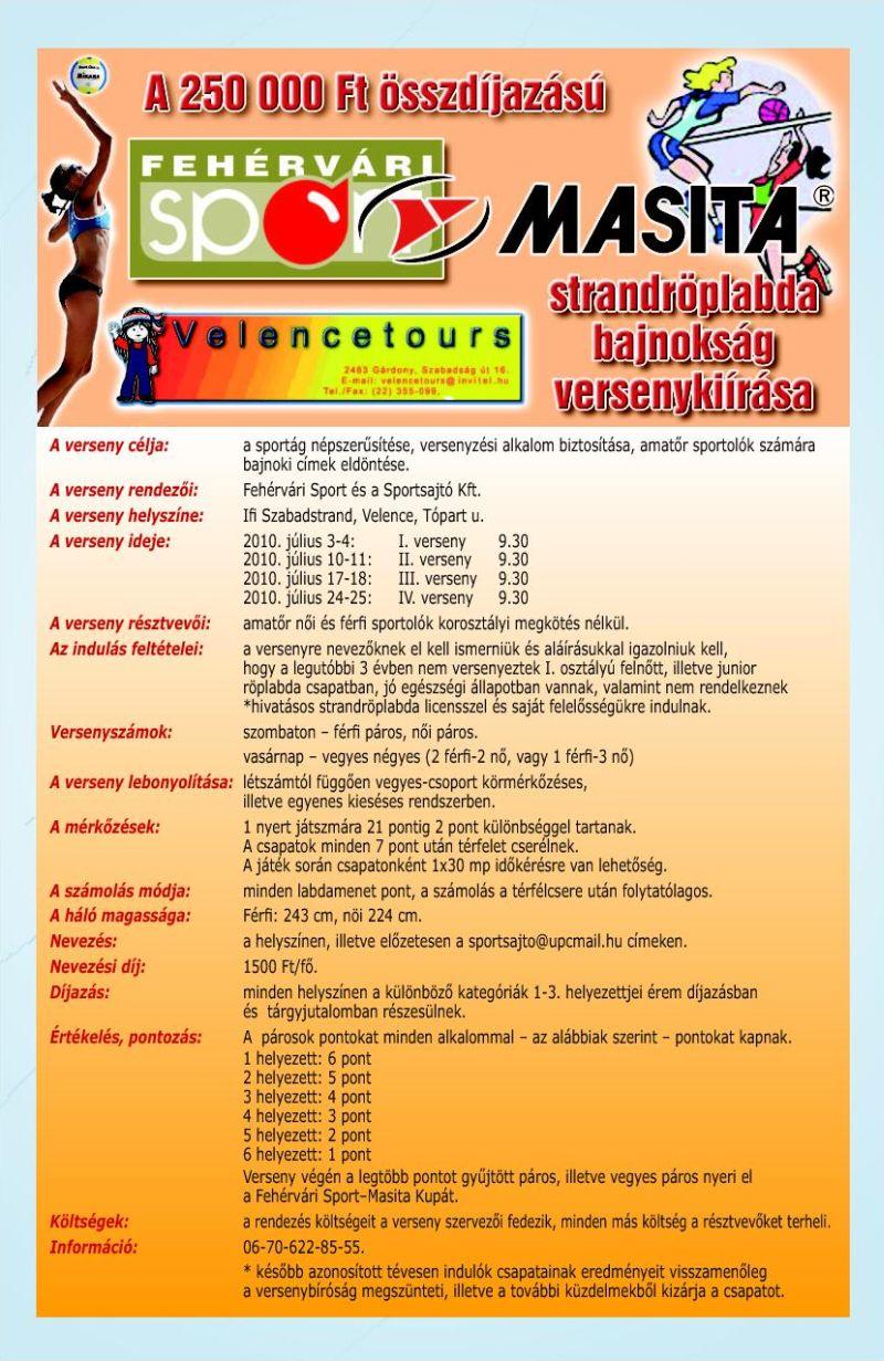Fehérvári Sport – Masita Strandröplabda Bajnokság - 2010. július 3-4.