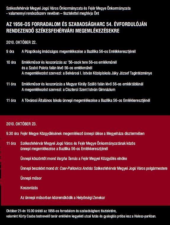 Ünnepi megemlékezések Székesfehérváron - 2010. október 22-23.