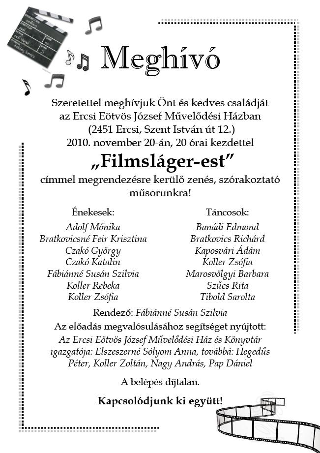 Filmsláger Est Ercsiben - 2010. november 20.