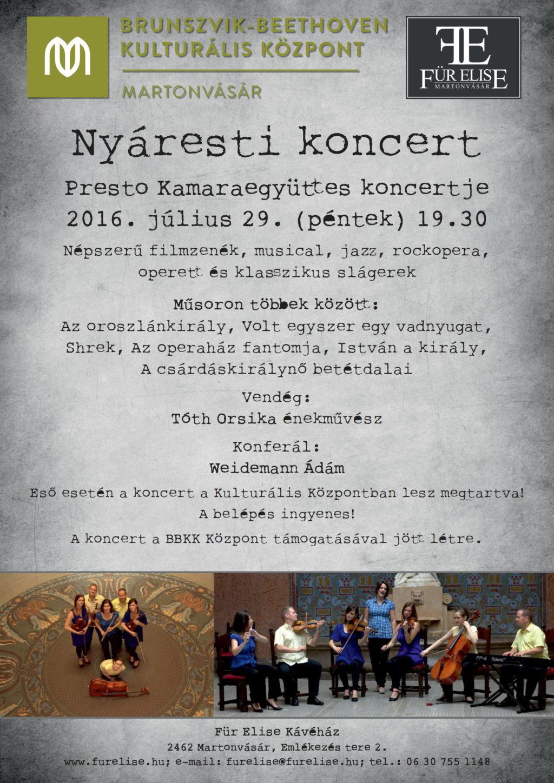 Presto Kamaraegyüttes koncertje