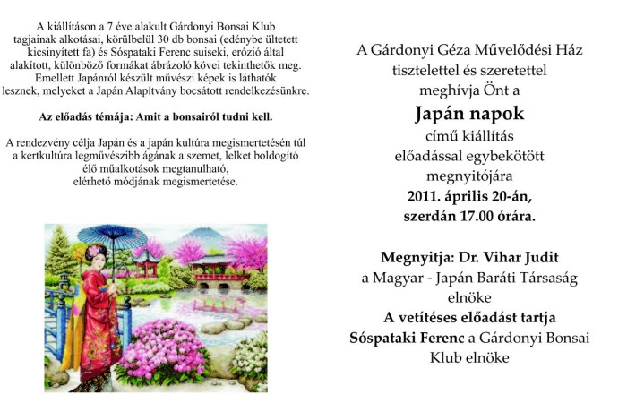Bonsai és művészeti kiállítás Székesfehérváron - 2011. április 20.